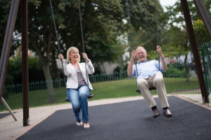 Retired couple having fun